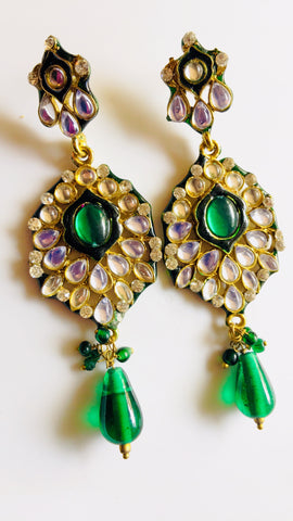 Bollywood Kundan Green Dangle Earrings India Jhumka