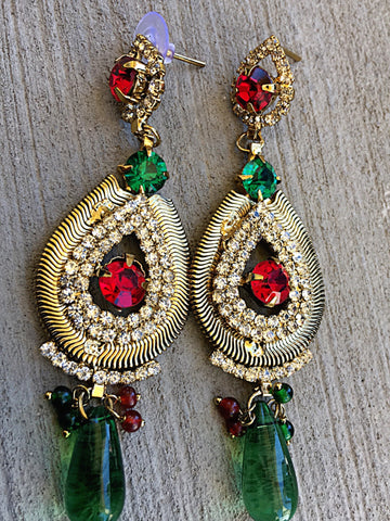 Gold Plated Indian Pakistani Earrings with Green and Red Stones