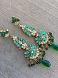 New Indian Pakistani Ethnic Bollywood Gold Plated Green designer earrings