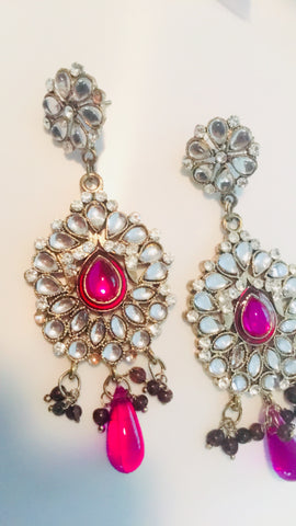 Khushrang Pink bollywood Kundan Dangle Earrings India Jhumka