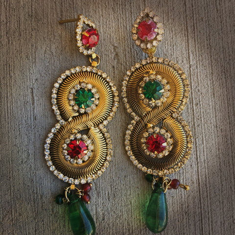Golden Indian hanging Earrings Bollywood Ethnic