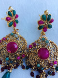 Indian Polki Gold Plated Pendant Set Indian Jewelry