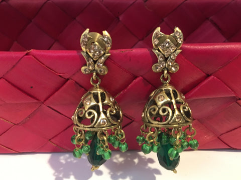Green Jhumka Victoria Earrings Bollywood Jewellery from India