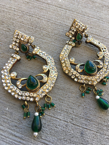 Victorian green stone work earrings