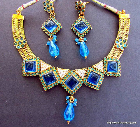 Blue Crystals Gold Plated Kundan Necklace Set