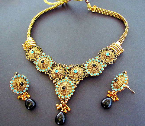 Geo Gold Plated Polki Necklace Set