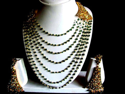Green Beads Indian Bunch Necklace Set