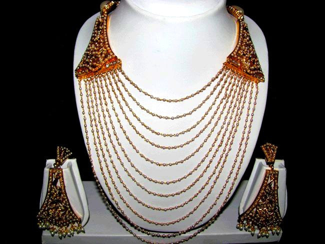28959de708815 White Pearl Bunch Indian Necklace Set
