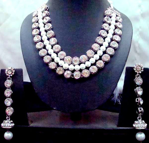 American Diamonds and Pearl Necklace Set