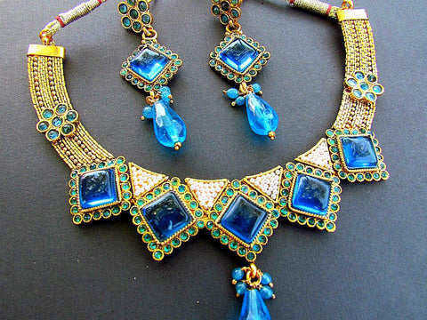 Polki Necklace Set with Blue Stone