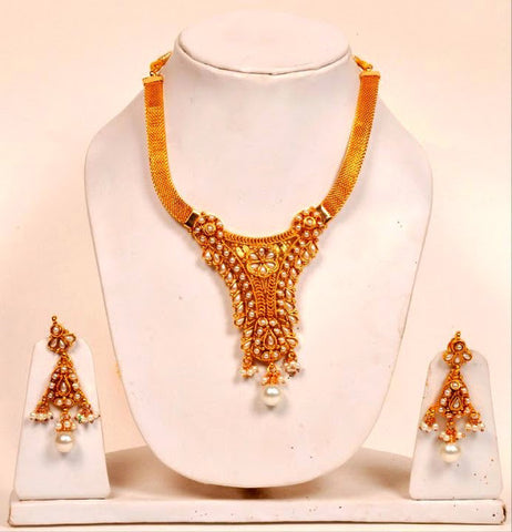 White Pearls Gold Plated Necklace Set