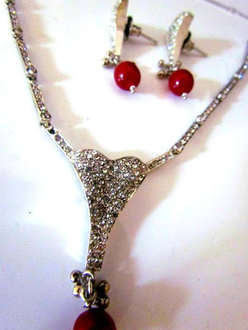 Red Stone Silver Necklace Set