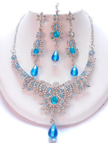 Blue Tone Indian Necklace Set