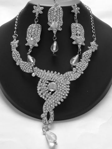 Silver Stone Bollywood Necklace