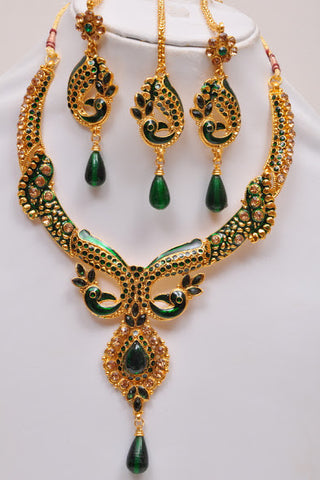 Gold Plated Meena Work Necklace Set