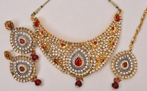 Red Emerald Tone Indian Necklace