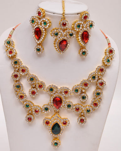 Sleek Gold Plated Indian Necklace Set
