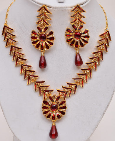 Red Tone Indian Necklace Set