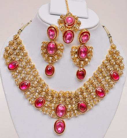 Pink Stone Indian Necklace Set