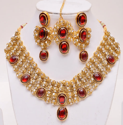 Nice Red Tone Indian Necklace Set