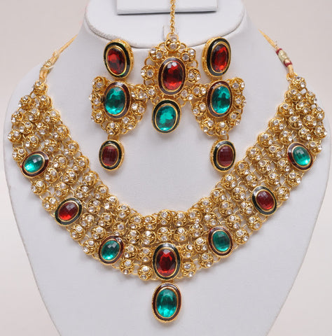 Red & Green Indian Necklace Set