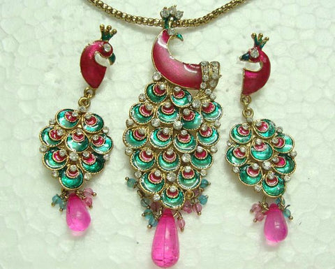 Pink Peacock Necklace Set