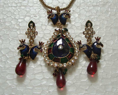 Red Peacock Necklace Set
