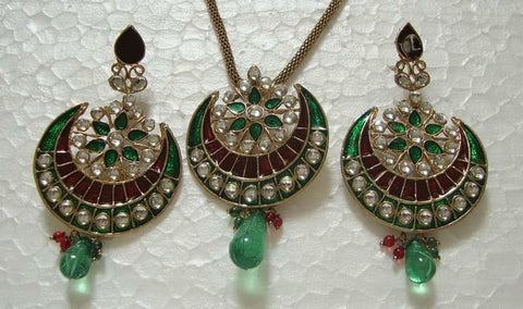 Meena Green Peacock Necklace Set