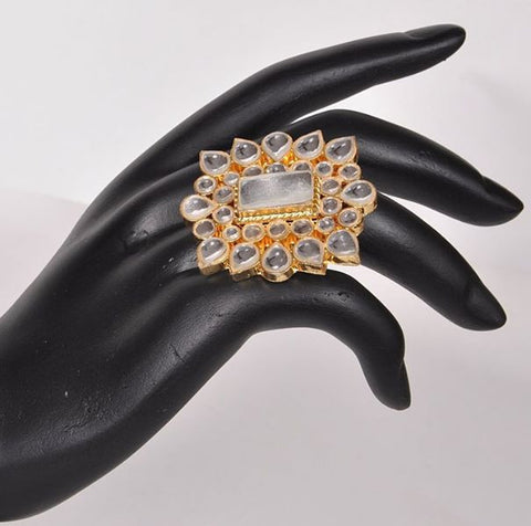 White Kundan Indian Ring