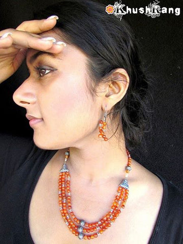 Orange Beads Necklace Set