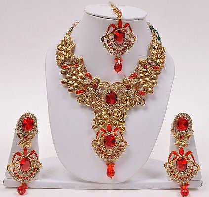 Necklace Set with Red Stone