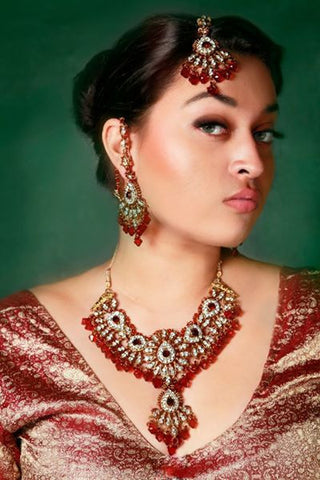 Maroon Necklace Set with Tikka