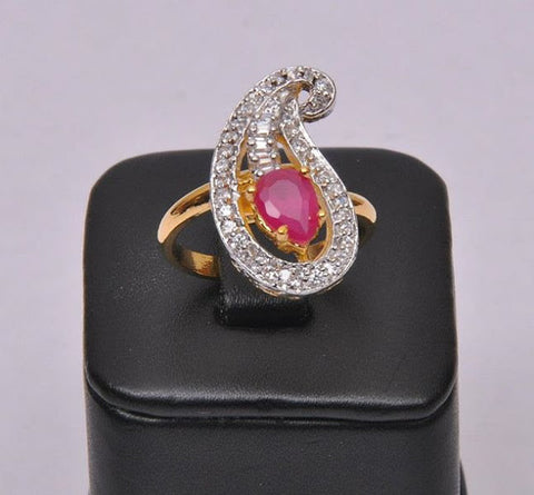 Khushrang Indian Jewellery Adjustable Red Ruby Ring Gold Plated with American Diamonds Ruby Polki