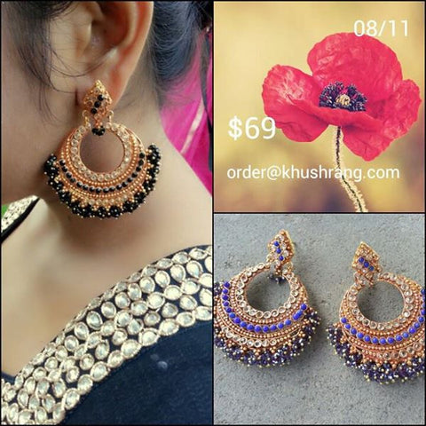 Designer Gold Plated Indian Earrnings with Black Stone work