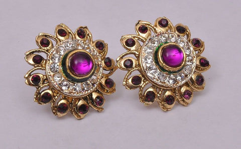 Stud Purple Tone Topis Earrings