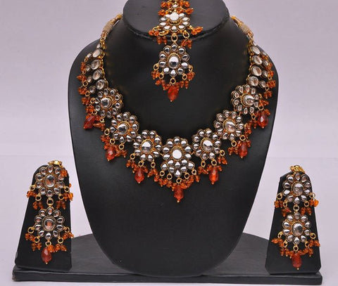 Orange Kundan Necklace Set