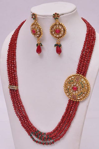 Multi-layered Ruby Beads Necklace Set
