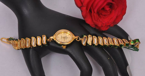 Fancy Kundan Watch in Golden Finish