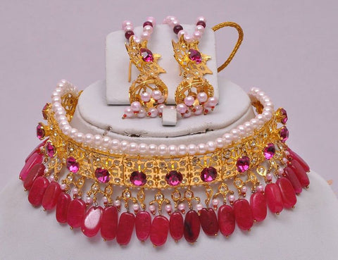 Ruby Chocker Style Indian Necklace Set