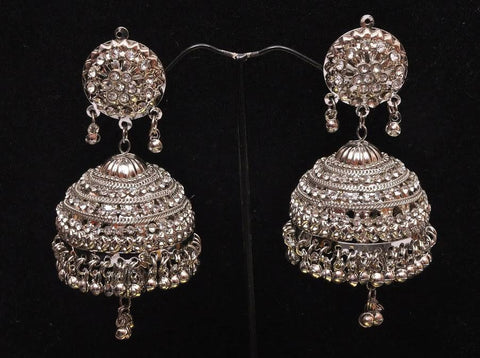 Jhumka Silver Finish Earrings on SALE