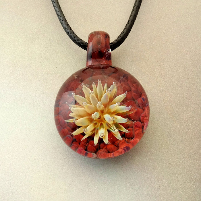 Sea Anemone Flower Blown Glass Pendant