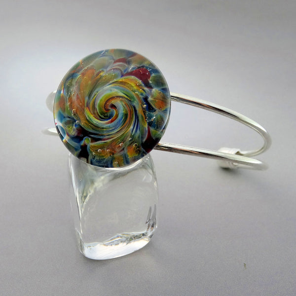 Cuff Bracelet Blown Glass Burst of Color Lampwork Bracelet (BR9247A)