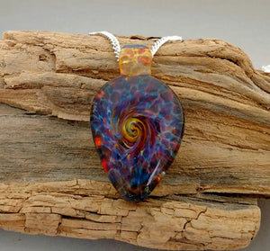 Blown Glass Rainbow Pendant Burst of Color Necklace Blown Glass Art (BC439A)