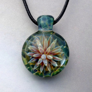 Sea Anemone Pendant,  Implosion Blown Glass Necklace, Flower of the Sea, Lampwork Focal Bead (AN547A)