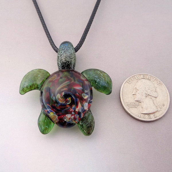 Sea Turtle Pendant Burst Of Color Spiral Back