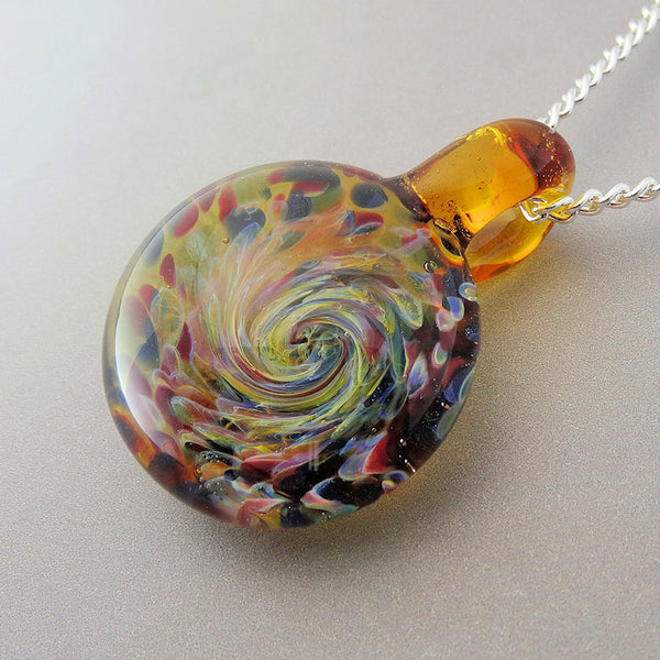 Color Burst Cremation Pendant, Memorial Necklace, Ashes and Glass