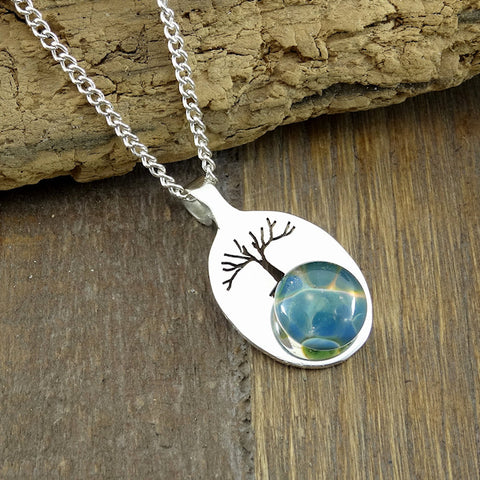 Sterling Silver Tree of Life Teal Blown Glass Memorial Cremation Pendant