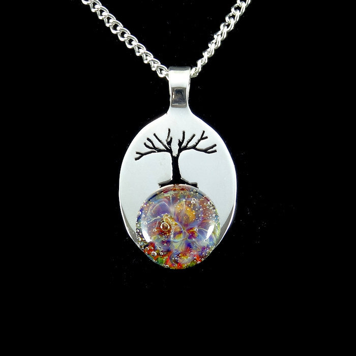 Cremation Pendant, Memorial Necklace, Tree of Life, Pet Ashes, Sterling Silver, Hand Blown Glass