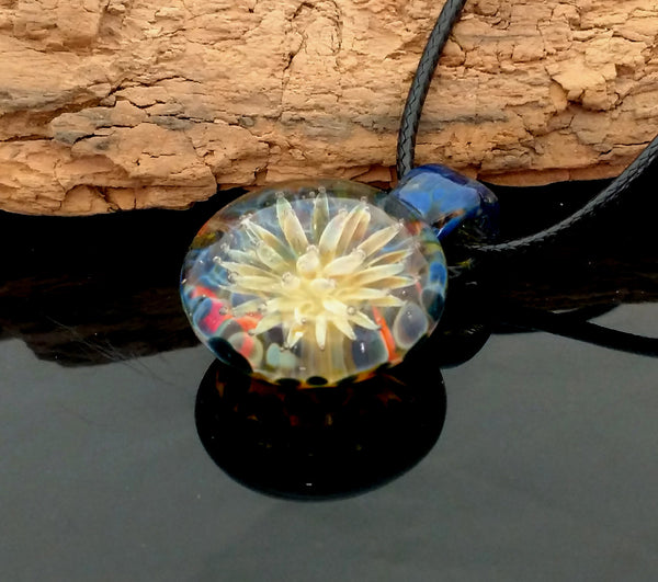 Sea Anemone Blown Glass Pendant Blue Multi