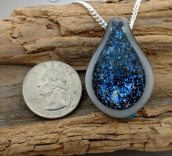 Blue Rainbow Galaxy Blown Glass Pendant Necklace Dichroic Glass (D479A)